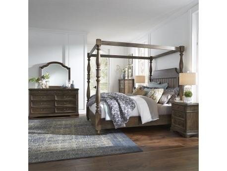 Homestead Queen Canopy Bed, Dresser & Mirror, Chest, Night Stand