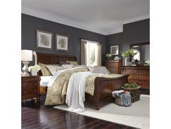 Rustic Traditions King California Sleigh Bed, Dresser & Mirror, Chest, Night Stand