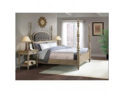 Corinne King Upholstered Poster Bed