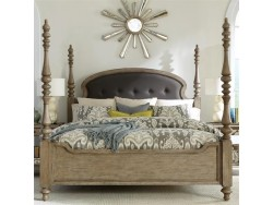 Corinne Queen Upholstered Poster Bed